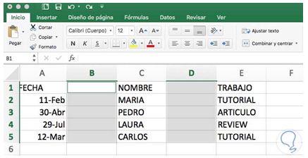 Cómo eliminar una columna en Excel5