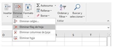 Cómo eliminar una fila en Excel5