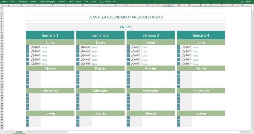 Plantilla Excel calendario de tareas del hogar