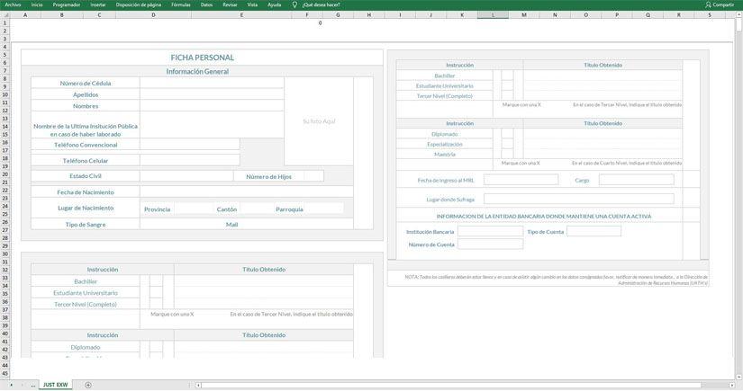 Ficha del alumno con foto en Excel