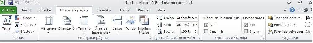Cinta de opciones Excel