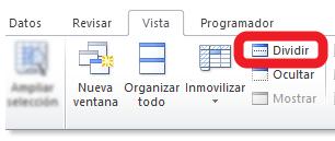 dividir la hoja de Excel en 2