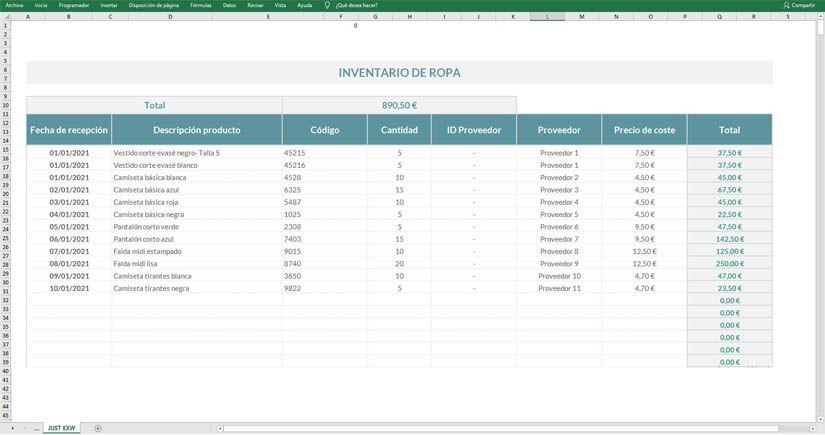 Plantilla inventario Excel gratis