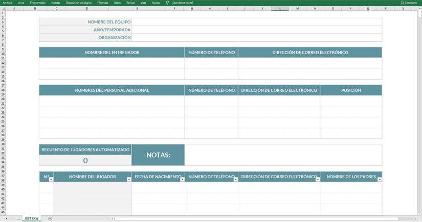 Lista equipo deportivo en Excel gratis