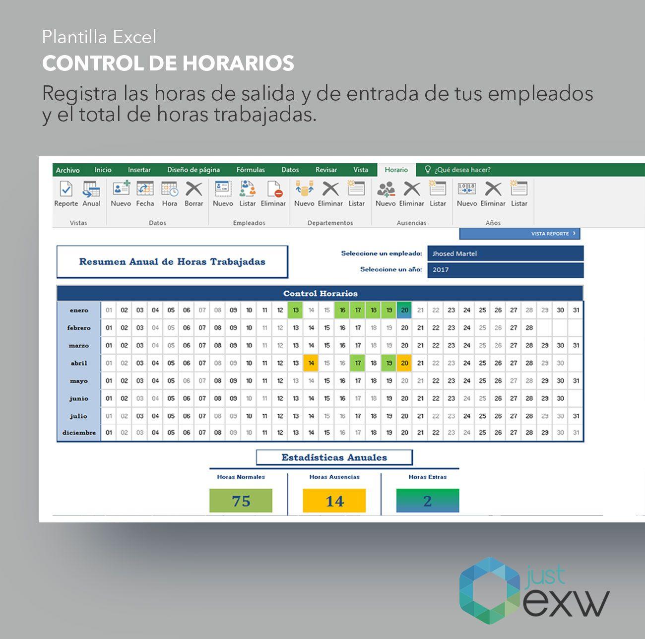 Plantilla de horarios de Excel