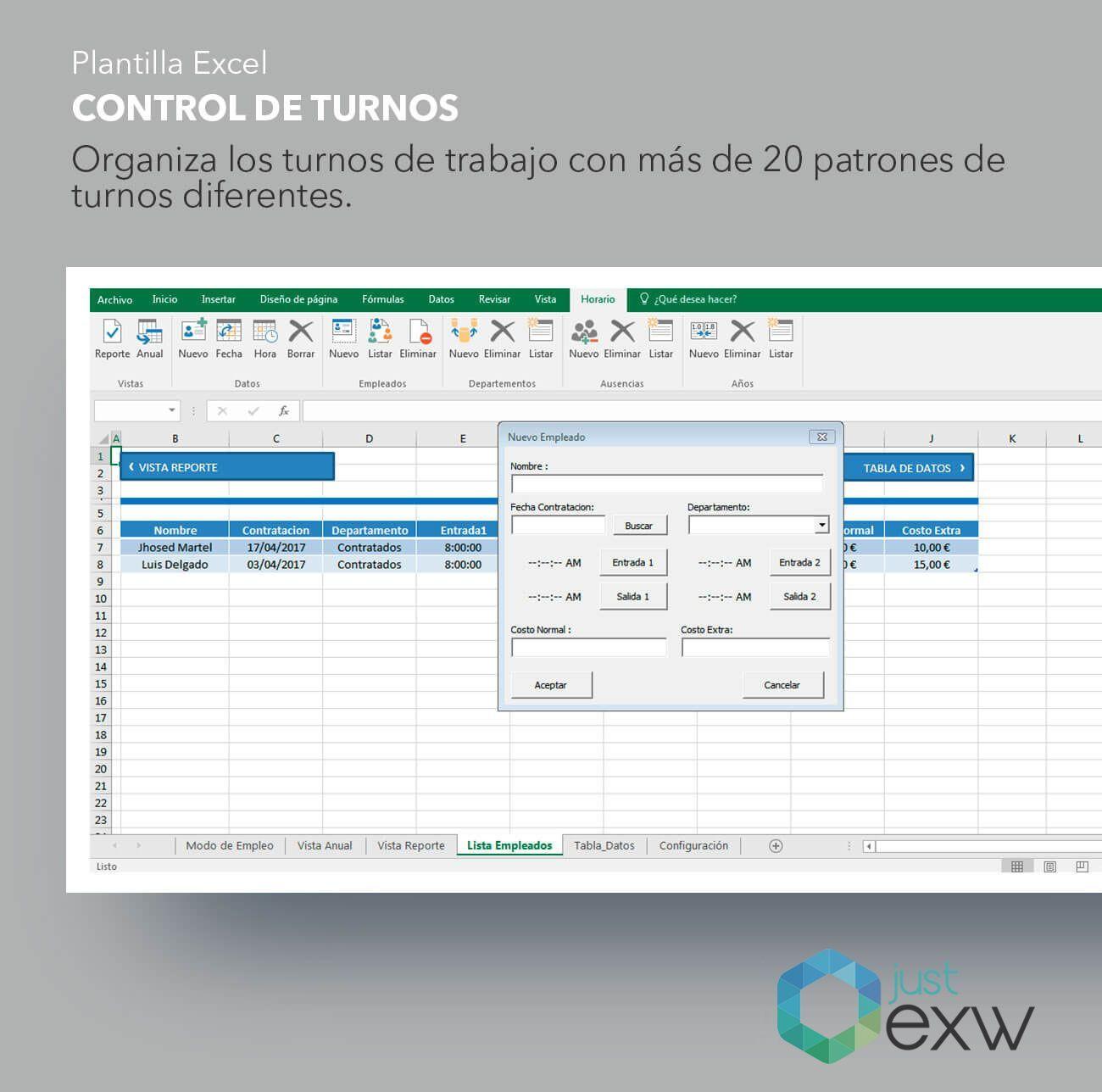Plantilla de Excel para control de turnos