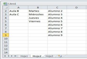 Introducir datos a partir de la lista que especifique 2