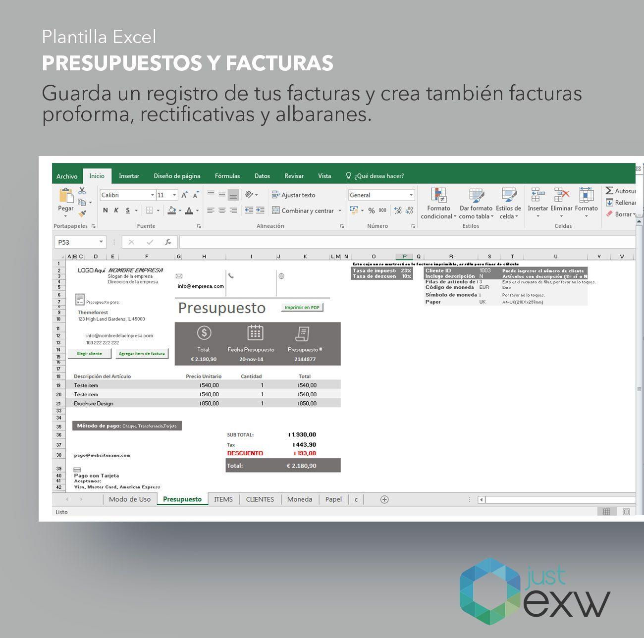 Plantilla de presupuesto y facturas en Excel