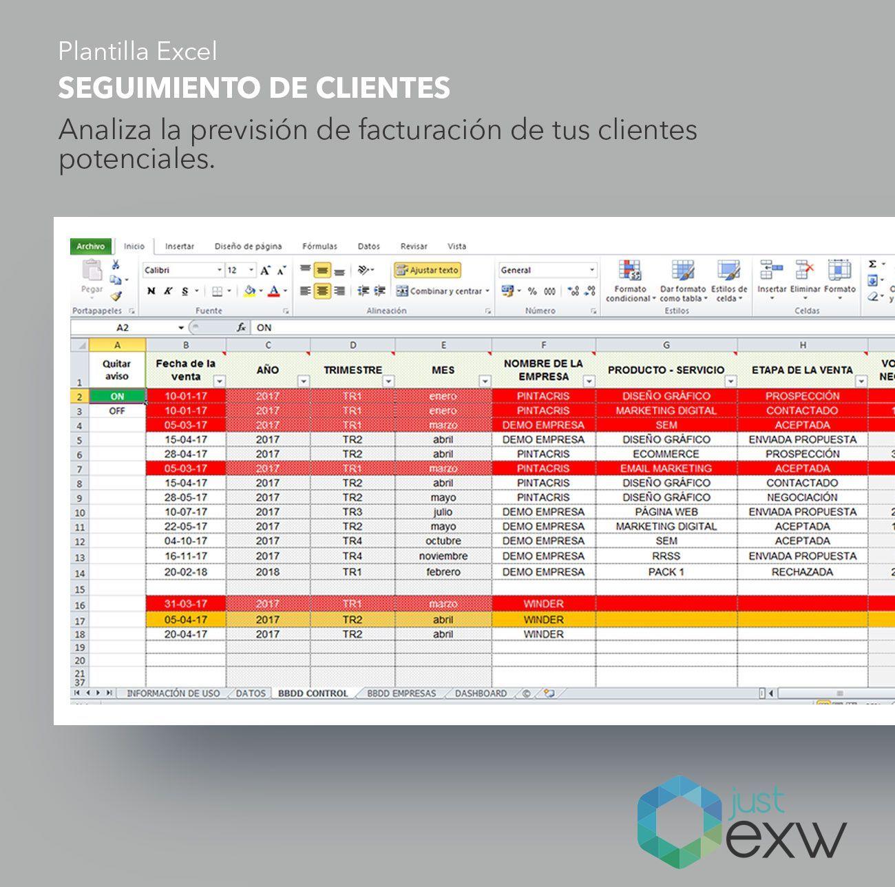 Plantilla seguimiento de clientes en Excel