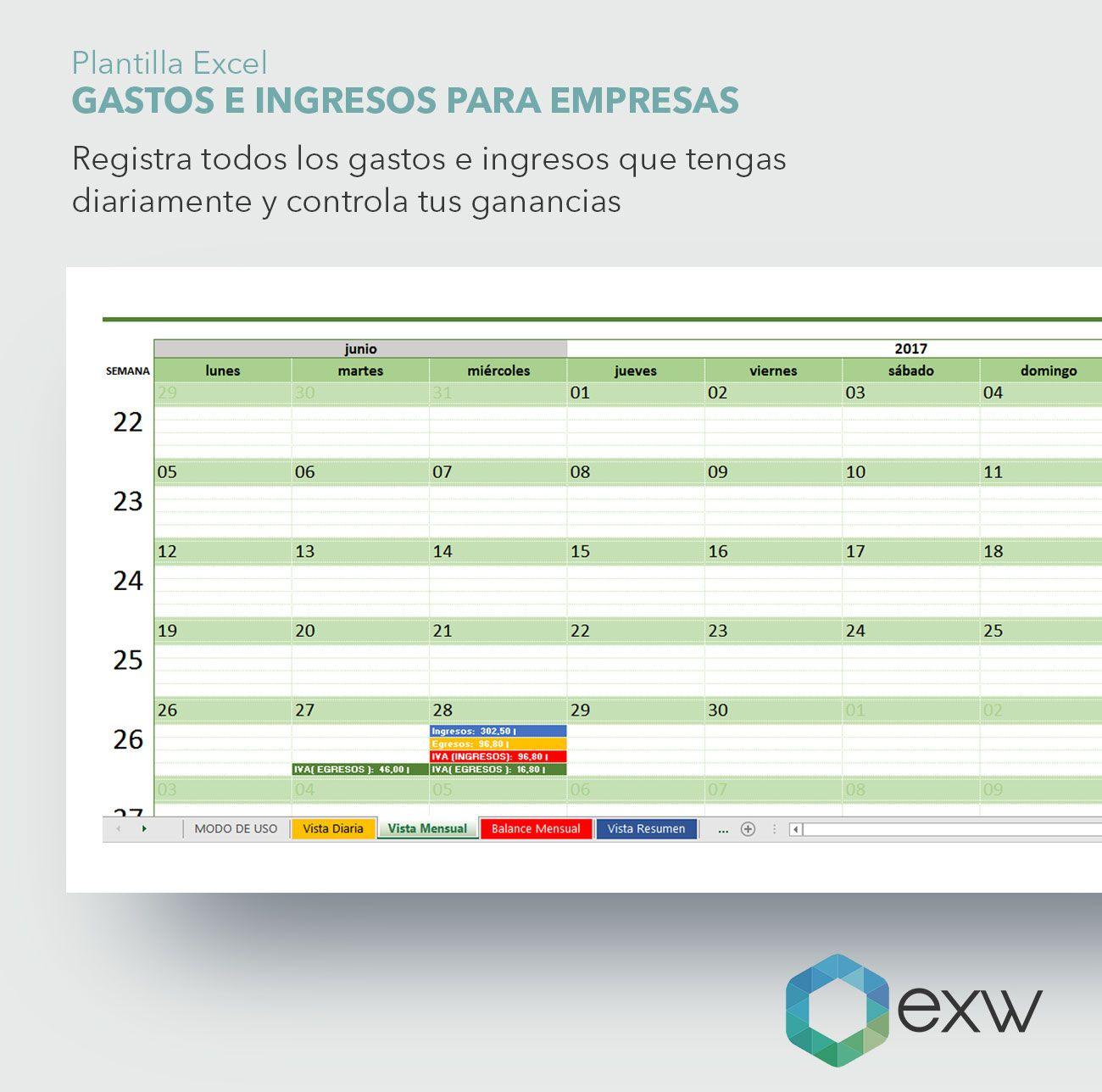 Plantilla Control Gastos E Ingresos para empresas | Just EXW