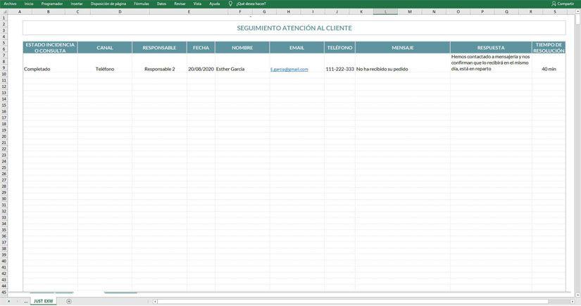 Protocolo de atención al cliente en Excel