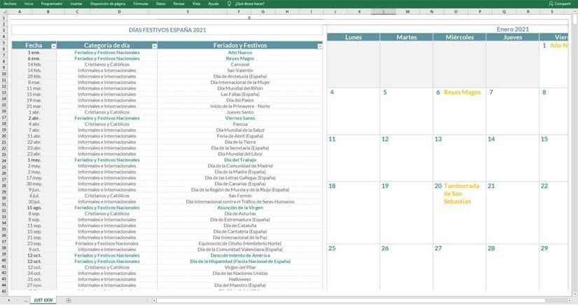 Calendario laboral 2021 en Excel
