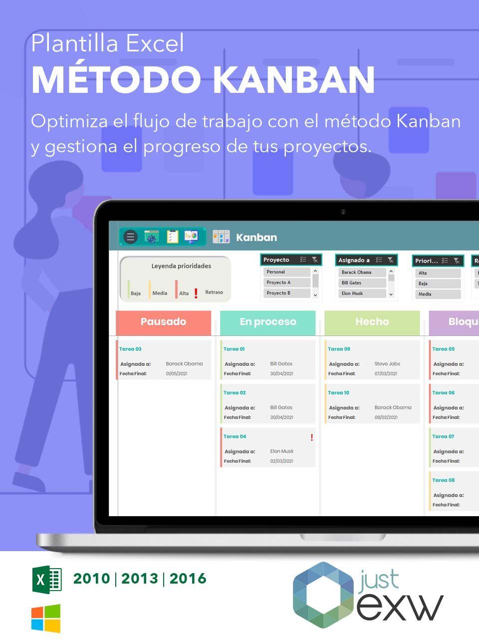 Plantilla tablero Kanban en Excel