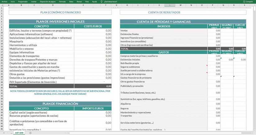Modelo de plan financiero en Excel