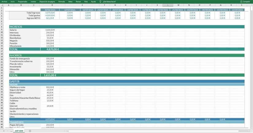 Plantilla Excel gastos semanales descarga gratuita