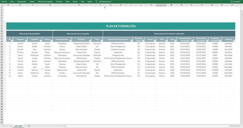 Descarga gratis plantilla Excel plan de carrera