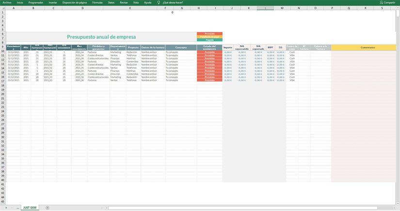 Presupuesto anual empresarial Excel