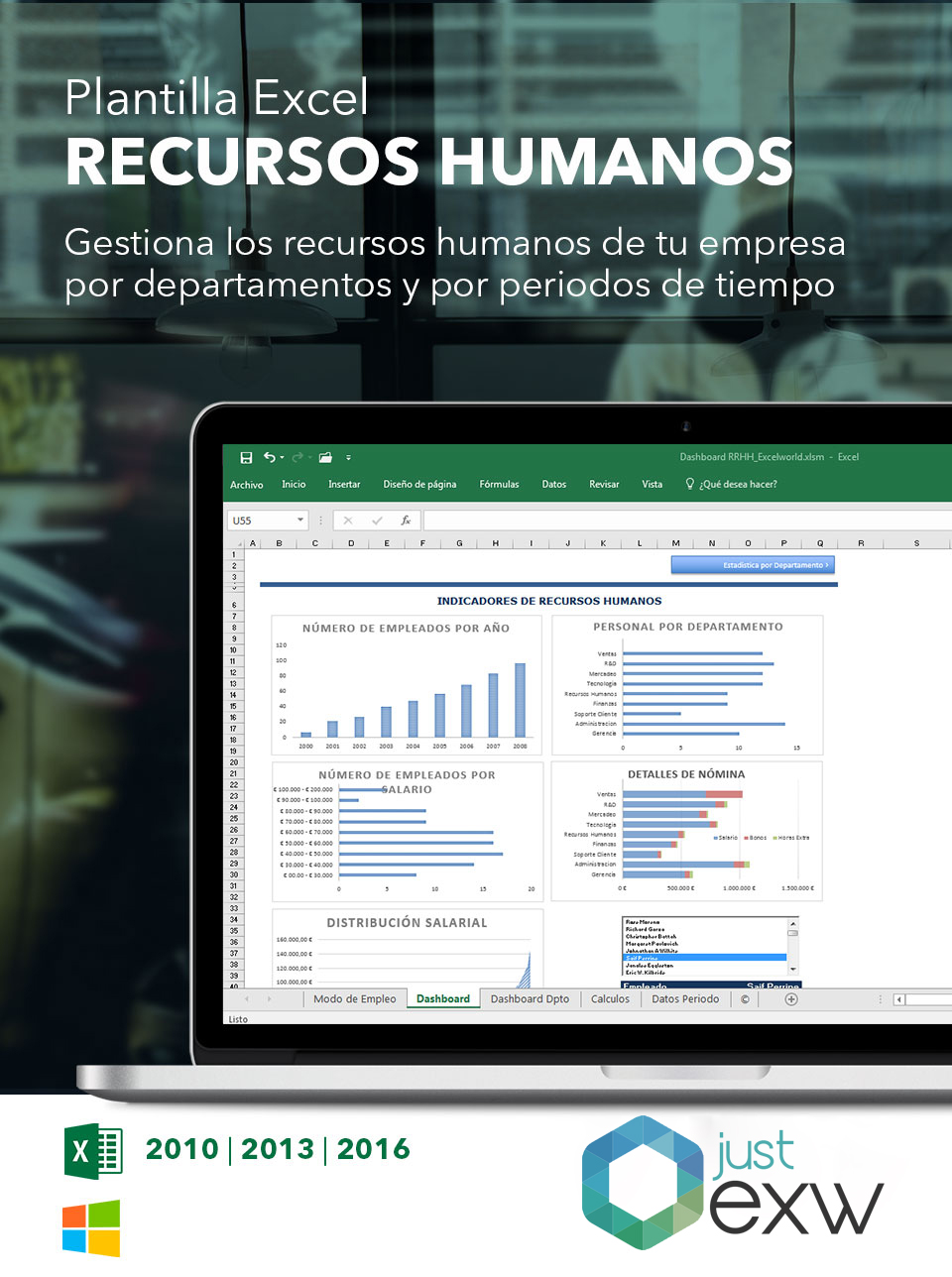 Plantilla de Dashboard de Recursos Humanos en Excel | Plantilla ...