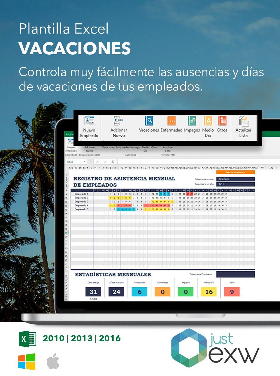Plantilla de control de vacaciones en excel | Plantilla Excel
