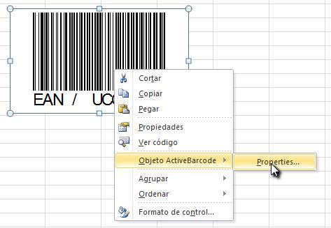 Activar el código de barras en Excel