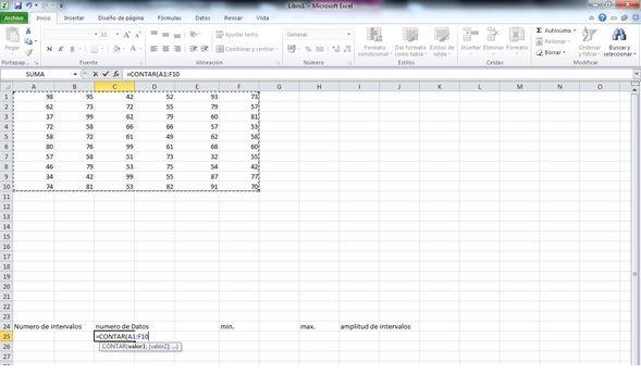 agrupar datos de Excel en intervalos 1