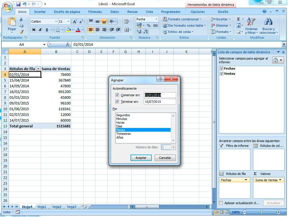 Cómo agrupar datos en la tabla dinámica
