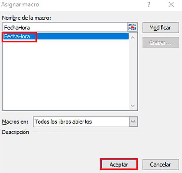 Agregar un macro de fecha y hora en la casilla de Excel