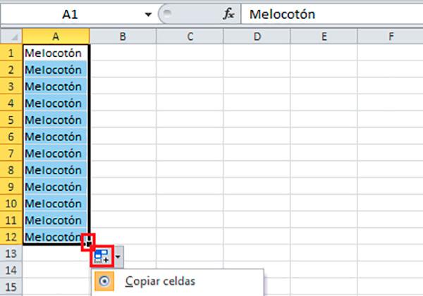 Autorrellenar celdas de Excel
