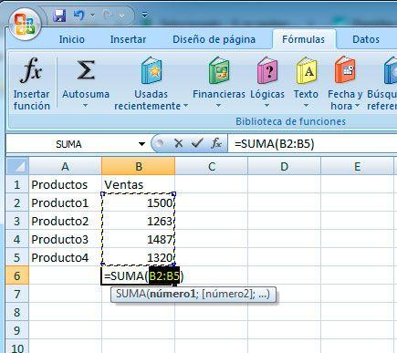 Hacer autosuma en Excel