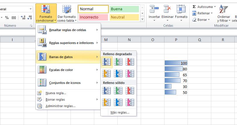 Barras de datos en Excel
