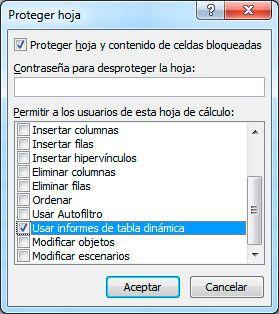 Bloquear las tablas dinámicas en Excel