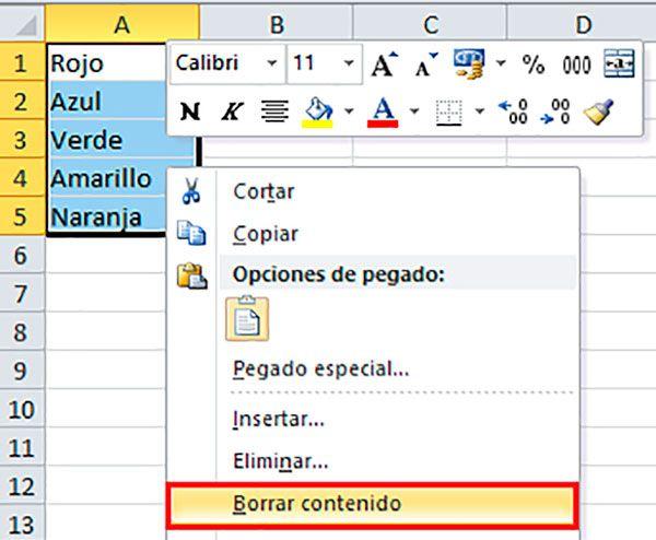 Eliminar el contenido de las celdas en Excel con ayuda del ratón