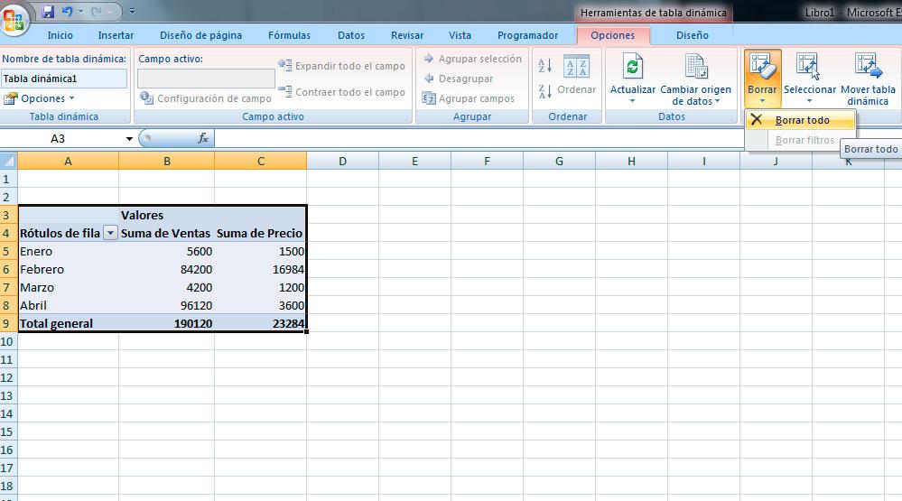 Borrar las tablas dinámicas en Excel