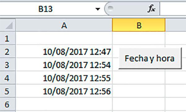 Cómo insertar el botón de la fecha y la hora en la casilla Excel