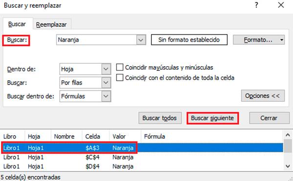 Localizar celdas en Excel