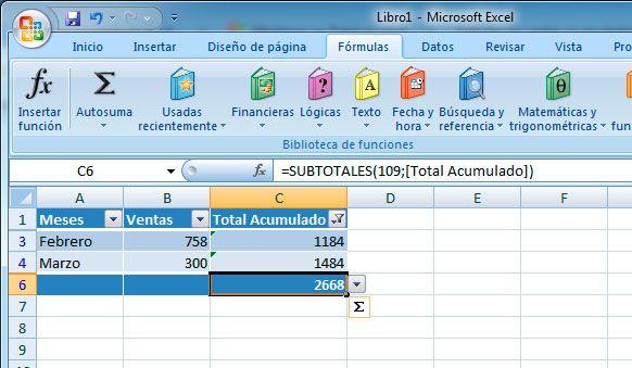 Suma de Excel con filtro y subtotales
