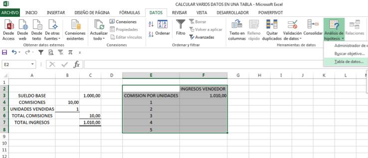 calcular varios resultados en una tabla de datos de Excel