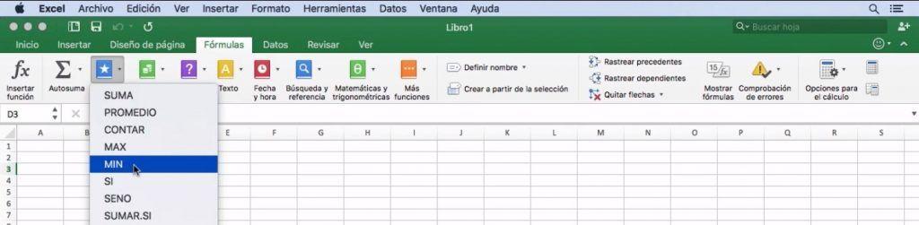 Ejemplo cinta de opciones de Excel