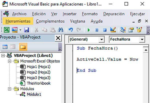 Agregar macros de fecha y hora en la celda de Excel