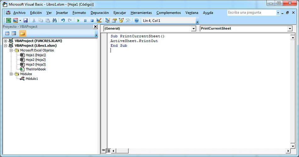 Código VBA para imprimir en Excel