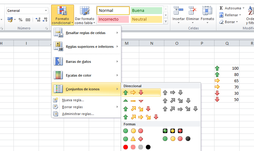 Conjuntos de iconos en Excel