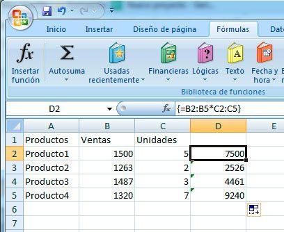 Combinación de teclas sumar matrices en Excel