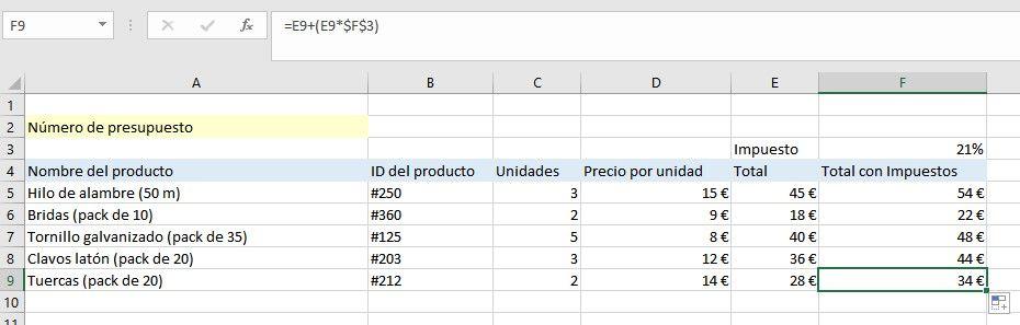 Fijar fórmulas de Excel