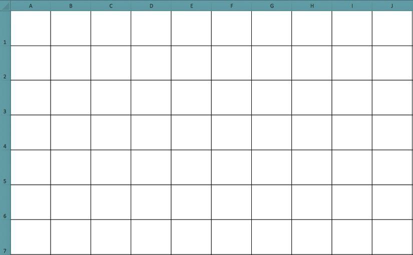 Crear cuadrículas usando Excel