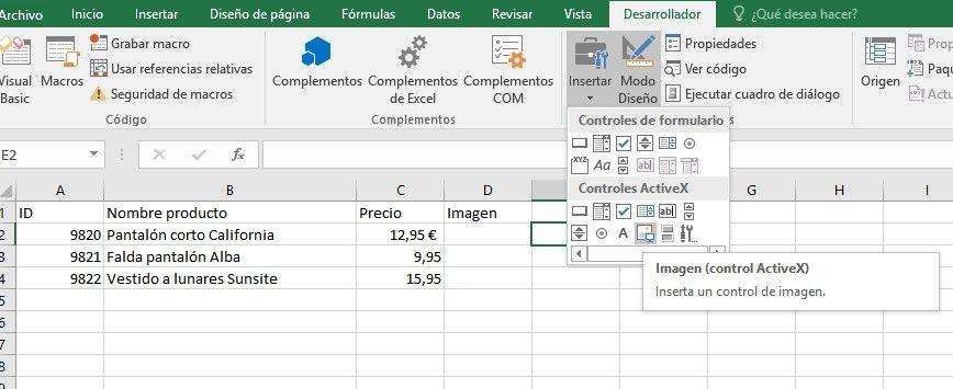 Catalogo de imágenes en Excel