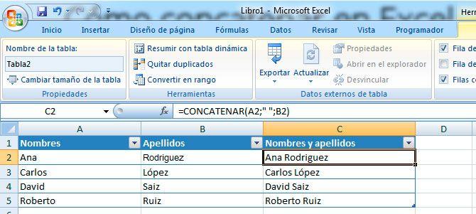 Concatenar en Excel