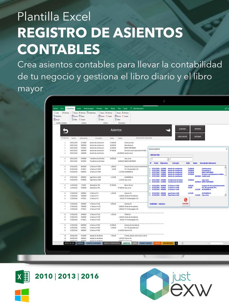 Plantilla de Excel registro asientos contables