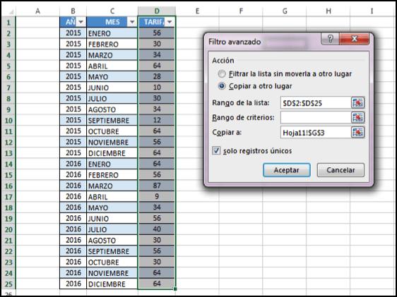 contar datos únicos en Excel
