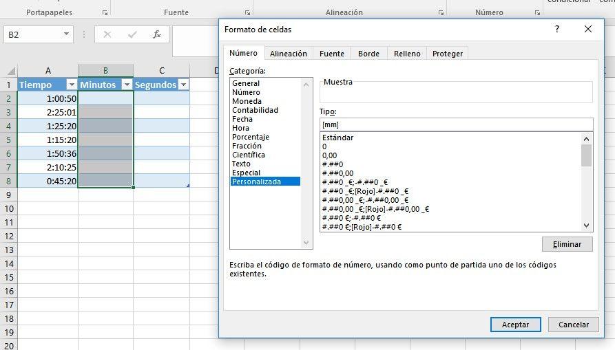 Convertir horas en minutos en Excel