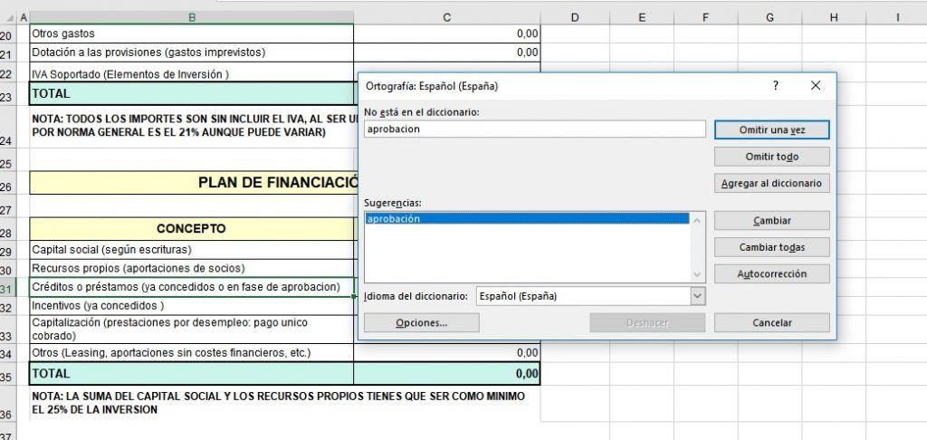 Revisar la ortografía en Excel